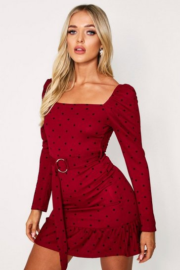 Burgundy Polka Dot Puff Shoulder Belted Dress