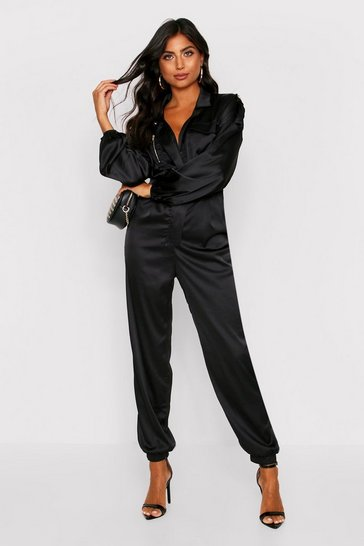 Womens Black Utility Jumpsuit