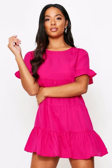 Womens Fuchsia Tiered Shirt Dress