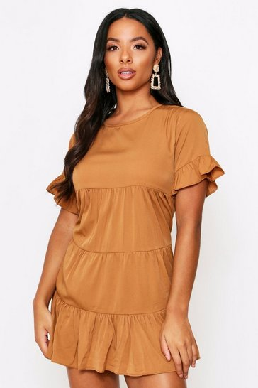 Tan Tiered Shirt Dress