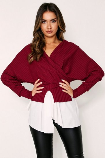 Burgundy Ribbed Wrap Double Layer Top
