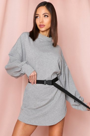Grey Buckle Belt Sweater Dress