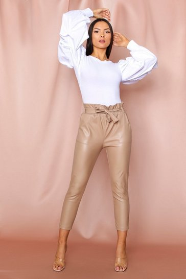 Beige Faux Leather Paper Bag Waist Pants