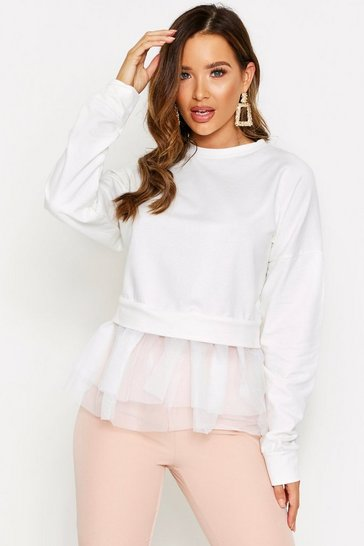 Cream Mesh Frill Sweater