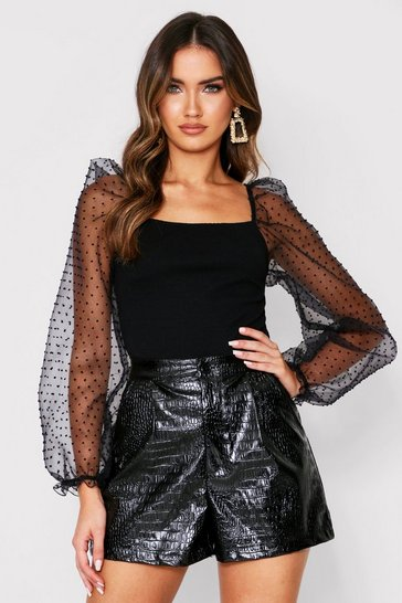 Black Dobby Mesh Puff Sleeve Ribbed Top