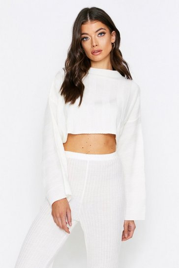 Cream Knitted Cropped Batwing Jumper