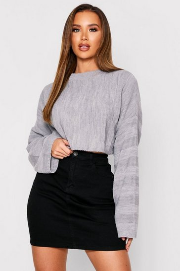 Grey Knitted Cropped Batwing Jumper