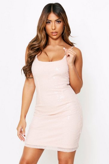 Womens Nude Beaded Sequin Cami Dress