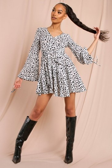 White Leopard Print Wrap Frill Dress