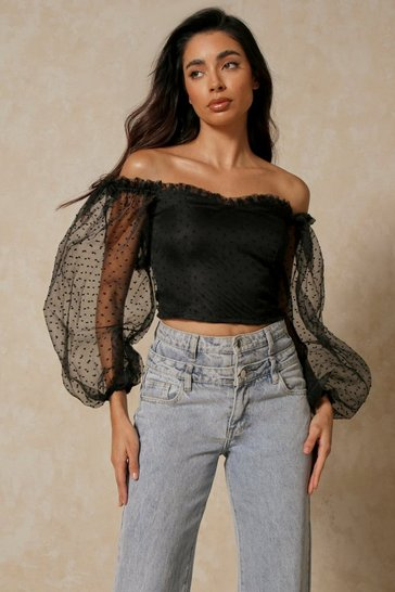 Womens Black Spotty Mesh Balloon Sleeve Bardot Top
