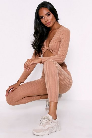 Camel Gathered Rib Legging Set