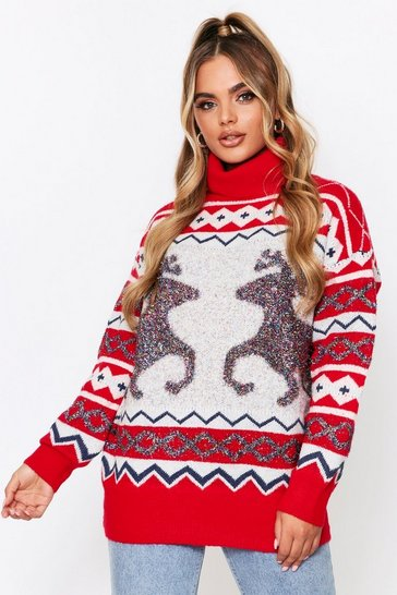 Womens Red Christmas Roll Neck Reindeer Tinsel Jumper
