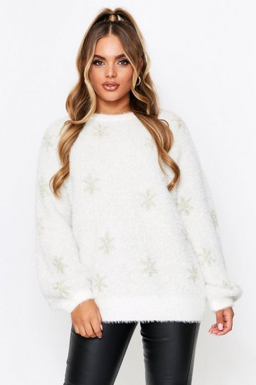 Cream Oversized Christmas Feather Tinsel Snowflake Jumper