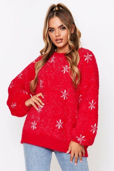Red Oversized Christmas Feather Tinsel Snowflake Jumper