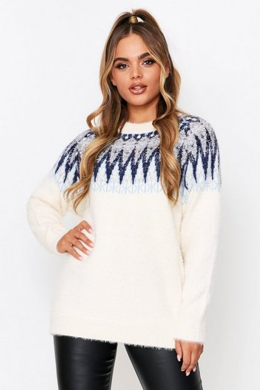Navy Christmas Feather Tinsel Sweater