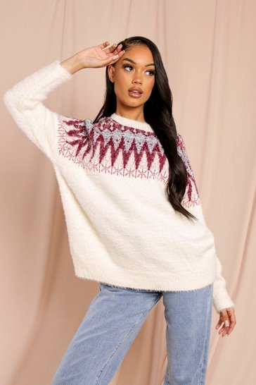 Red Christmas Feather Tinsel Sweater