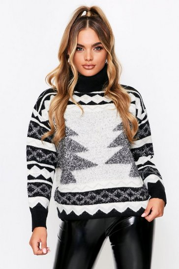 Black Premium Christmas Roll Neck Jumper
