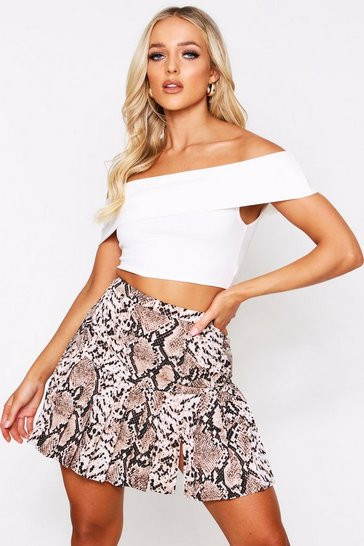 Womens Brown Printed Pleated Skirt