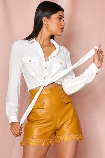 Camel leather look Lace Trim Short