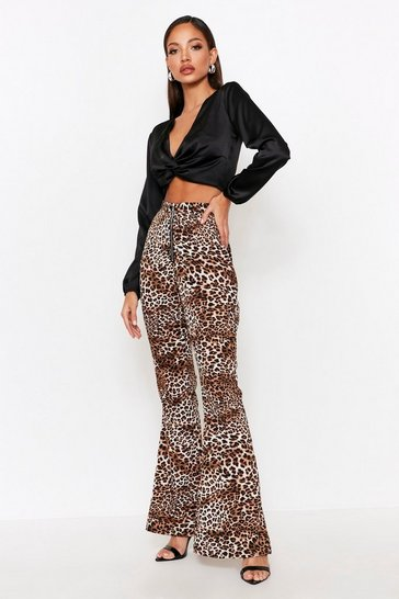 Womens Leopard Zip Front Flair Trouser