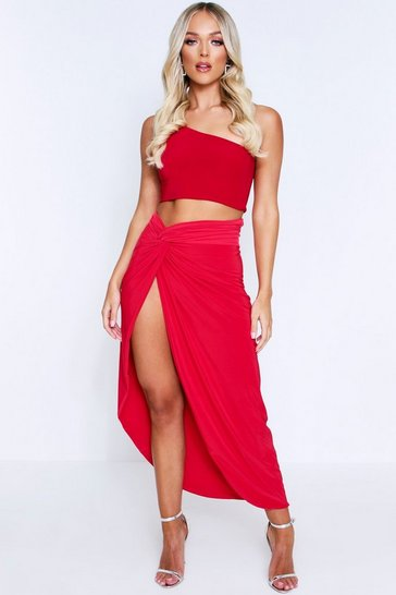 Womens Red Double Layered Knot Front Skirt