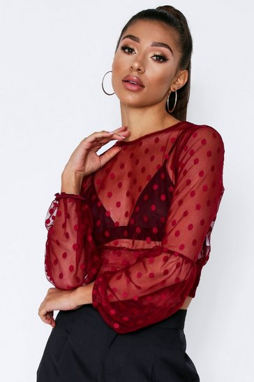 Womens Burgundy Dobby Mesh Polka Dot Balloon Sleeve Crop Top