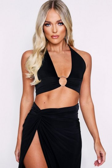 Womens Black Ring Detail Double Layered Bralet