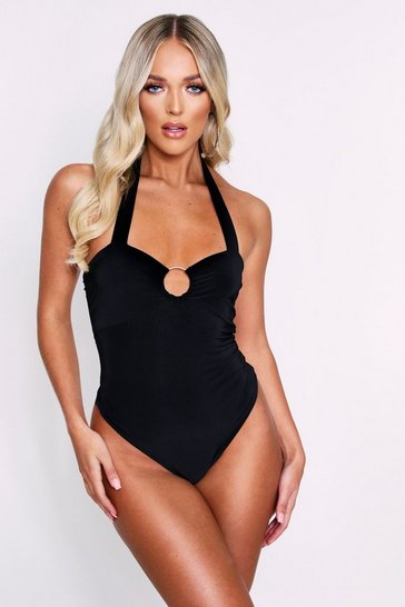 Black Ring Detail Double Layered Bodysuit