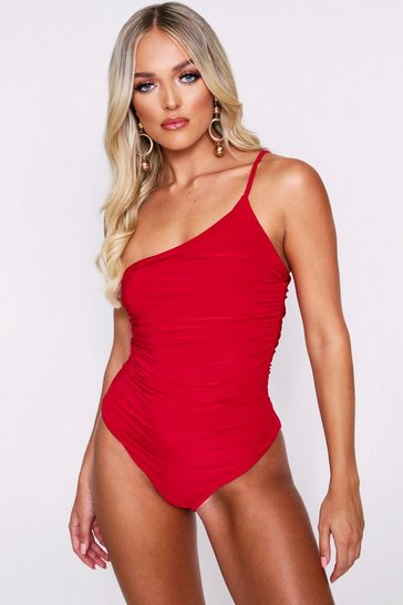 Red Ruched One Shoulder Full Pant Bodysuit