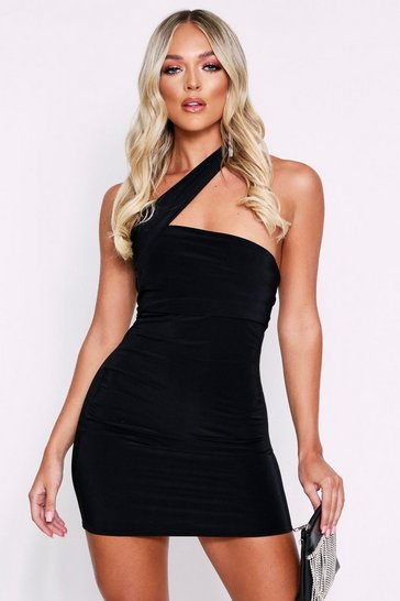 Black Double Layered Asymmetric Mini Dress