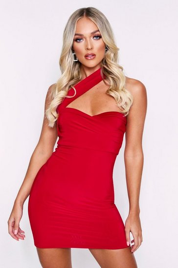 Red Double Layered Asymmetric Mini Dress
