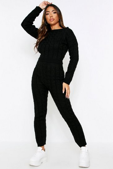 Womens Black Cable Knit Lounge Set