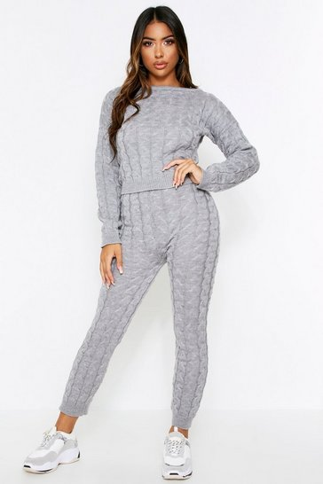 Womens Grey Cable Knit Lounge Set