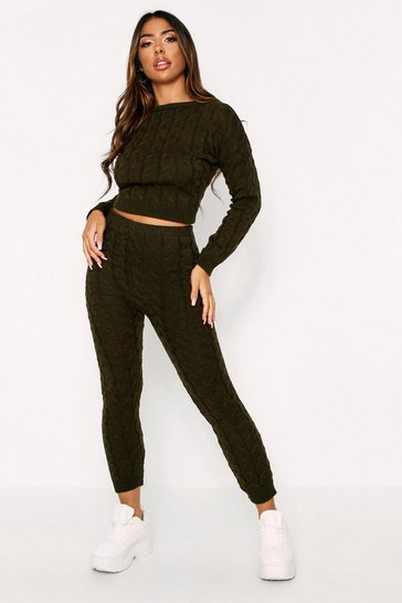 Womens Khaki Cable Knit Lounge Set