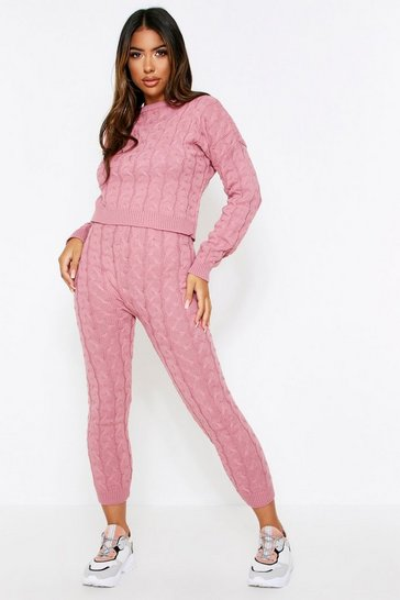 Womens Rose Cable Knit Lounge Set