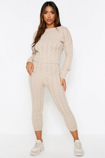 Womens Stone Cable Knit Lounge Set