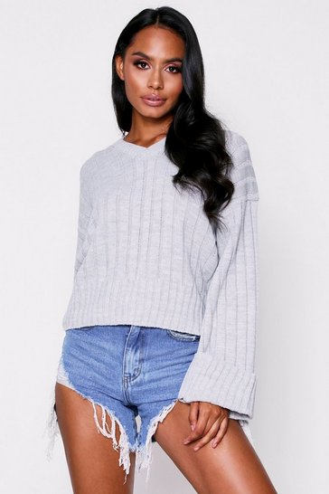 Womens Grey V Neck Jumper