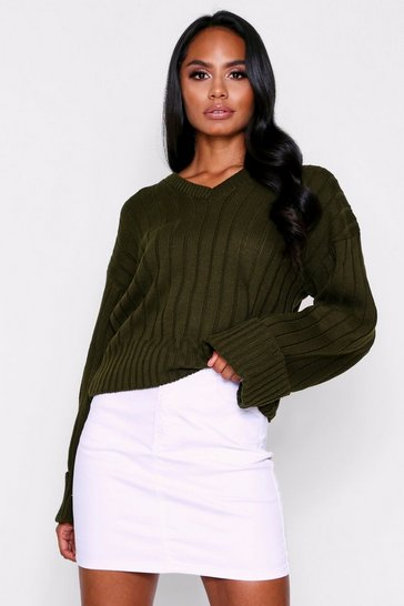 Womens Khaki V Neck Jumper