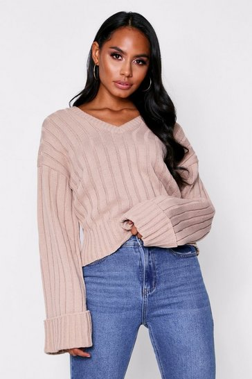 Womens Stone V Neck Jumper
