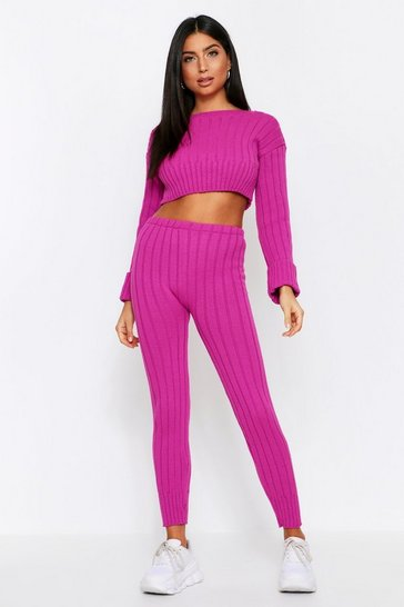 Fuchsia Knitted Off Shoulder Lounge Set