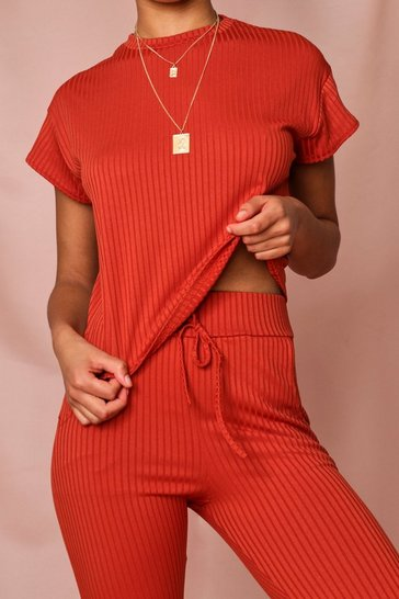 Orange Knitted Off Shoulder Lounge Set