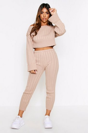 Womens Stone Knitted Off Shoulder Lounge Set