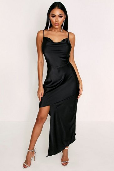 Womens Black Cowl Neck Asymmetric Satin Dress