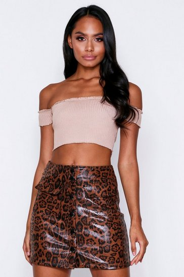 Brown PU Leopard Print Mini Skirt