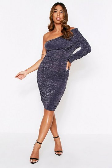 Grey Bardot Glitter Mini Dress