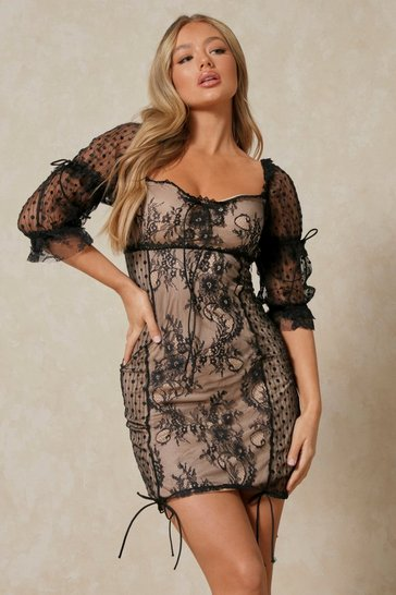 Black Lace Ruched Tie Detail Mini Dress