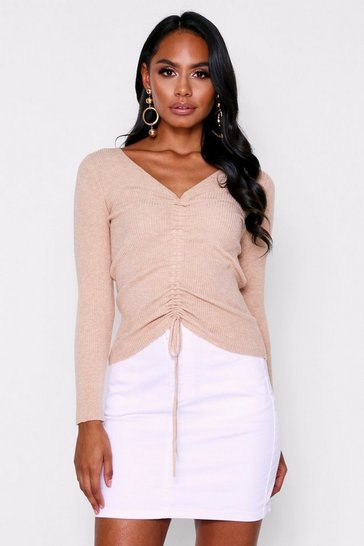 Womens Beige Ruched Front Rib Knit Jumper