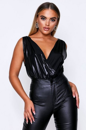 Black Metallic Drape Front Full Pant Bodysuit