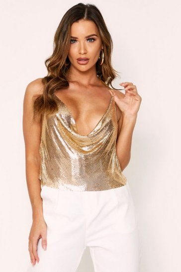 Gold Chainmail Diamante Chain Detail Top