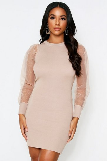 Beige Organze Sleeve Knitted Dress